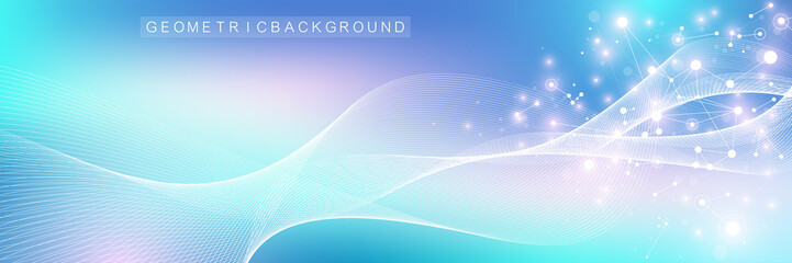 Nano technologies abstract background. Cyber technology concept. Artificial Intelligence, virtual reality, bionics, robotics, global network, microprocessor, nano robots. Vector illustration, banner
