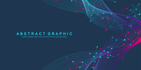 Obraz Expansion of life. Colorful explosion background with connected line and dots, wave flow. Visualization Quantum technology. Abstract graphic background explosion, motion burst, vector illustration. - fototapety do salonu