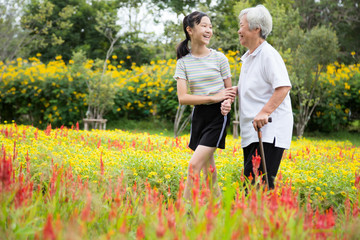 Happy asian senior grandmother and granddaughter walking in blooming garden,simple stress reduction,enjoying nature,smiling child girl holding hand of elderly woman care,support,health care concept