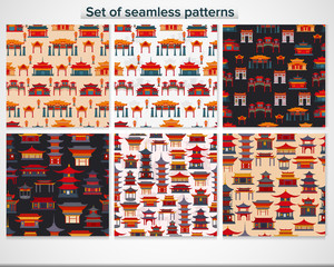 Set of seamless patterns with traditional Chinese temples and buildings, gates on different backgrounds.