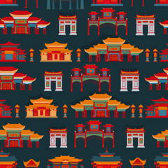 Seamless vector pattern with Chinese temples, gates and buildings on a dark background.