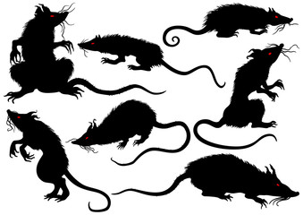 Halloween rats horror set/ Illustration fantasy grotesque rats with red eyes