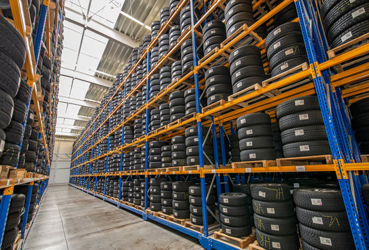 Tire warehouse with high shelf