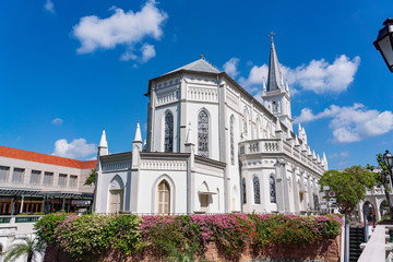 Chijmes church at Singapore with blue sky background Wall mural