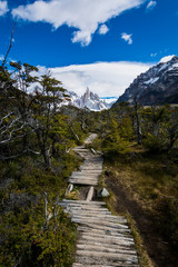 A wooden pathway leading to Laguna Torre and Cerro Torre mountain, Los Glaciares National Park, Patagonia, Argentina