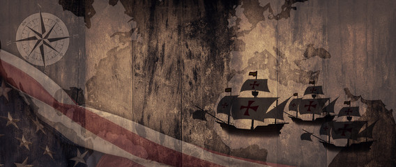 American National Holiday. US Flag background with Santa Maria, compass and world map.