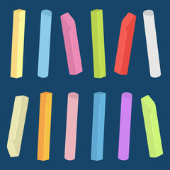 Chalk piece and stick of different colors vector set isolated on background.