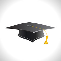 Education. Black student celebration cup. Academic symbol Graduation hat isolated on a white background.