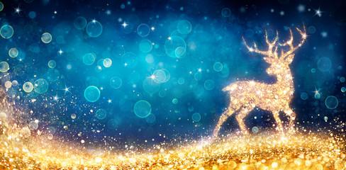 Fotomurales - Christmas - Magic Golden Deer In Shiny Blue Background