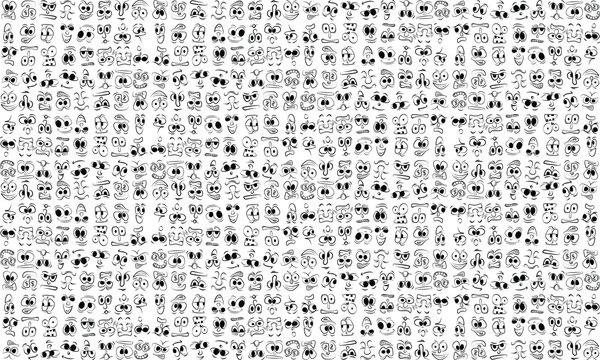 cartoon face expressions vector set