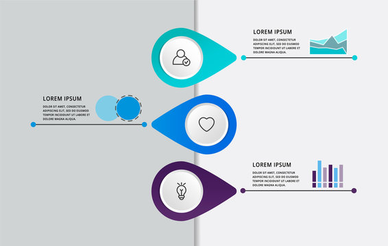 Vector modern infographic flat template pin for three paper label, diagram, graph, presentation. Business concept with 3 options and marks. Blank space for content, step for step, timeline, workflow