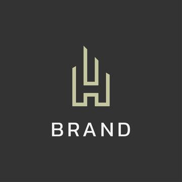 Letter H building logo icon design minimalist style illustration. creative simple apartment vector symbol logotype