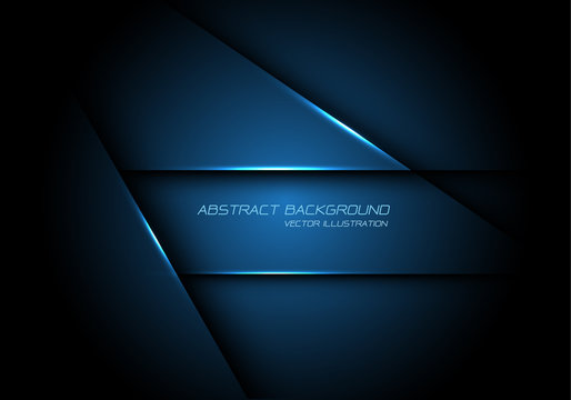 Abstract blue metallic overlap design modern futuristic technology background vector.