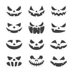 vector black pumpkin face halloween icons set