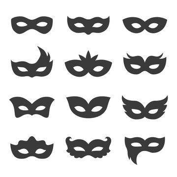set of vector black carnival masks
