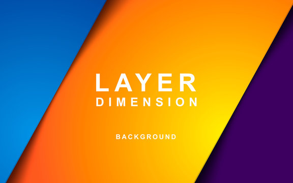 Color dimension background vector. Realistic purple, yellow and blue overlap layer vector illustration.