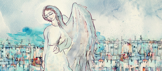 Guardian angel. Watercolor christian banner
