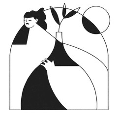 Woman with Plant Vase in Black and White