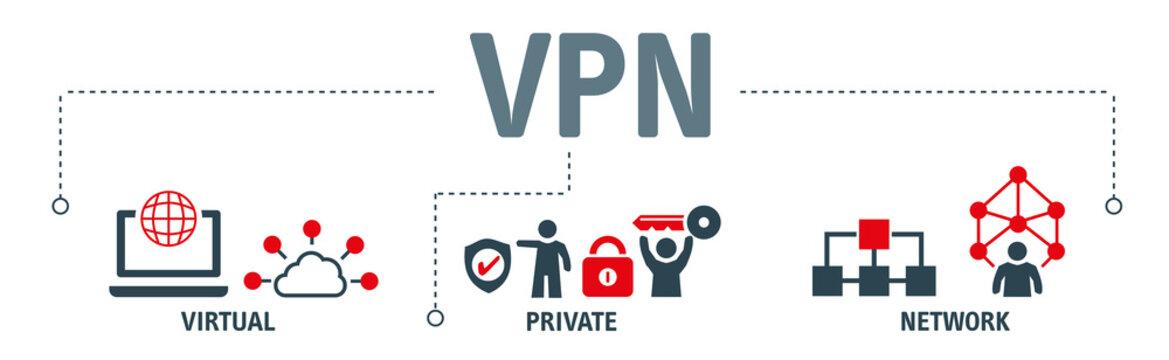 VPN - Banner virtual private network - vector illustration