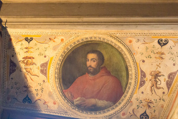Portrait of cardinal Ippolito de'Medici in the Room of Leo X at medieval Palazzo Vecchio, Florence, Italy.