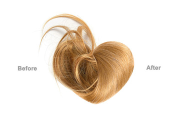Brown hair in shape of heart before and after brushing, isolated on white background. Haircare procedure concept