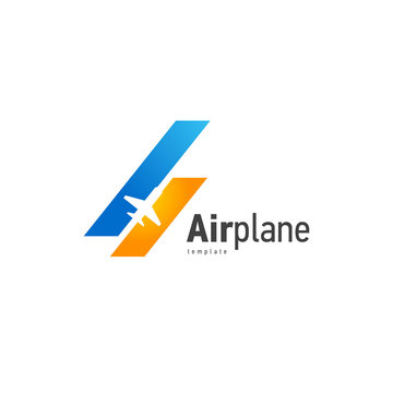 Airplane logo blue flight up stripes