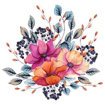 Watercolor Autumn Floral Composition with Pink and Red Flowers