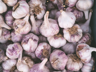 Large amount of garlic in a vegetable shop