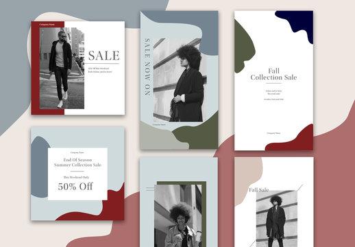 Abstract Seasonal Sales Social Set