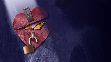 Graphic abstract butterfly emerging from unlocked heart background