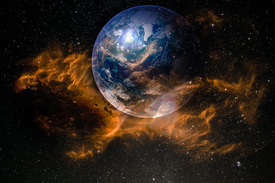 Glass transparent sphere of planet Earth in fire flames. Elements of this image furnished by NASA.