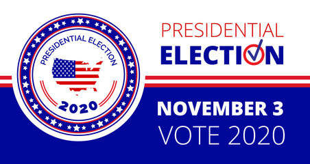 2020 United States of American Presidential Election in November 3. Political event concept vector.
