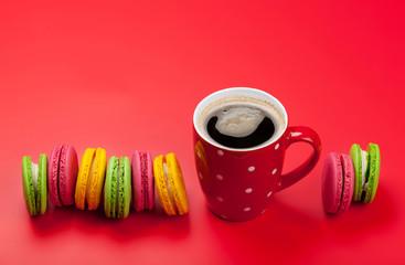 Foto auf Leinwand Macarons Cake macaron or macaroon sweets and coffee