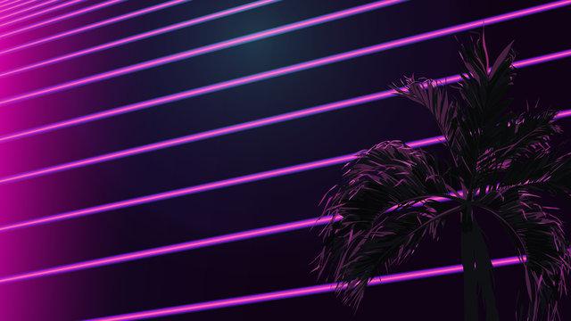 neon strip tropical aesthetic