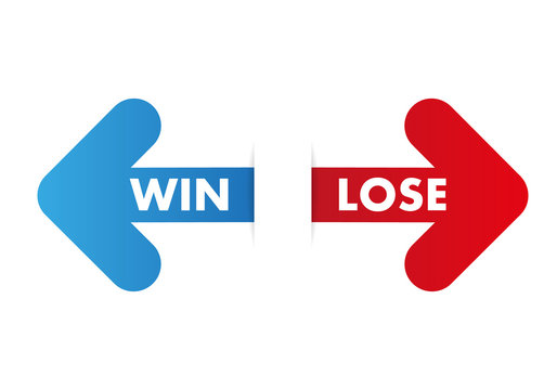 Two color arrows with text win and lose. Paper cut graphic style with shadow - Vector