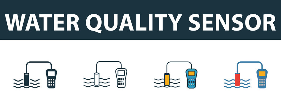 Water Quality Sensor icon set. Premium symbol in different styles from sensors icons collection. Creative water quality sensor icon filled, outline, colored and flat symbols