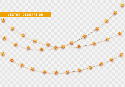 Christmas decorations isolated on transparent background.