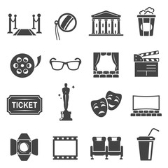 Cinema items black glyph vector icons set