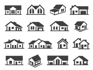 Houses exterior black glyph vector icons set