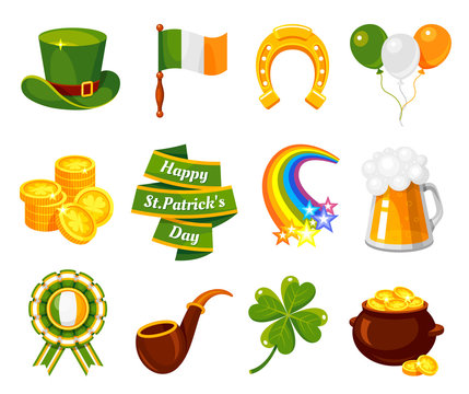 Saint Patricks Day flat vector illustration set