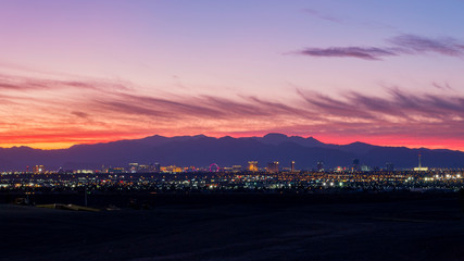 Aerial sunset high angle view of the downtown Las Vegas Strip