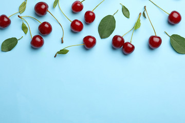 Foto auf Acrylglas Kirschblüte Tasty ripe cherries with leaves on light blue background, flat lay. Space for text