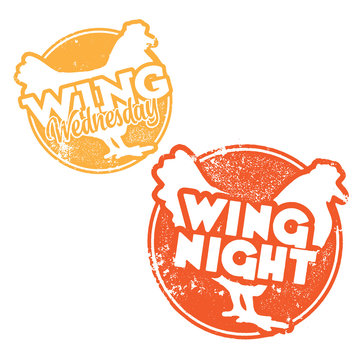 Chicken Wing Wednesday and Wing Night Stamps