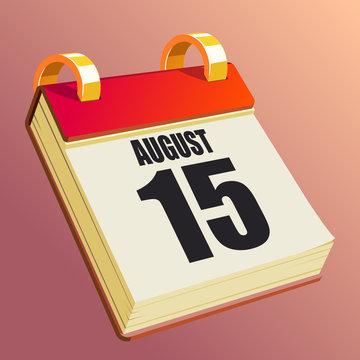 August 15 on Red Calendar