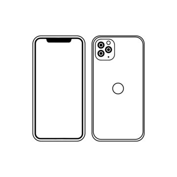 Smartphone Iphone 12 Pro silhouette  with blank screen isolated on white background. Front and back side. Vector illustration concept for app, web, presentation, development.