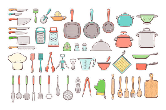 Big set of 52 cute hand drawn kitchen supplies, including different types of cooking knives, pots and pans, strainers, graters, skimmers, ladles, and more kitchen tools. Colorful outline collection.