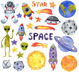 Space clipart set, hand drawn watercolor illustration isolated on white.