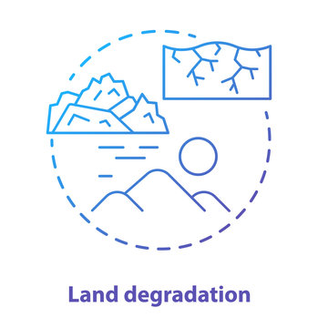 Land degradation concept icon. Soil impoverishment idea thin line illustration in blue. Soil erosion and desertification process. Nonrenewable mineral resource. Vector isolated outline drawing
