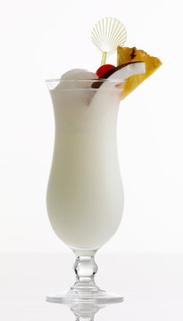 White Lady Cocktail in glass against white
