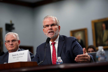 Daniel Elwell, deputy administrator of the Federal Aviation Administration, listens during a House Appropriations subcommittee hearing on aviation certifications, on Capitol Hill in Washington